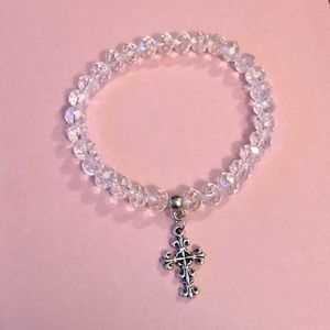 Crystal Beaded Stretch Cross Bracelet